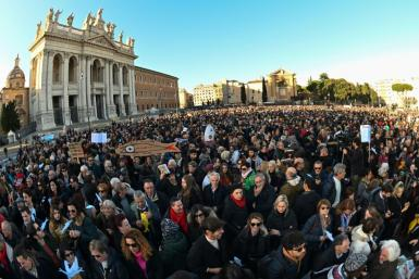 In Rome's immense San Giovanni Square, the crowd sang the anti-fascist anthem Bella Ciao