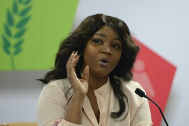 Nigerian actress, philanthropist and TIME 100 Most Influential People Award recipient Omotola Jalade Ekeinde speaks during the 'Nollywood Meets Bollywood' event at the African Development Bank Annual General Meeting 2017 in Gandhinagar, some 30 kms from t