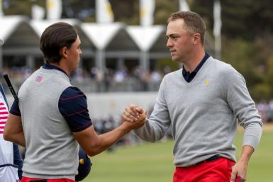 USA team members Rickie Fowler (L) and Justin Thomas won their morning fourballs, but went to sleep in the afternoon alternate shot format