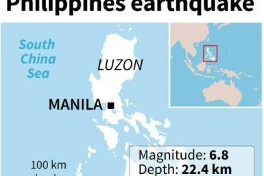 Map locating a 6.8 magnitude earthquake which hit the southern Philippines on Sunday.