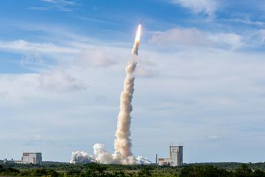 The launch of an Ariane 5 rocket in August 2019