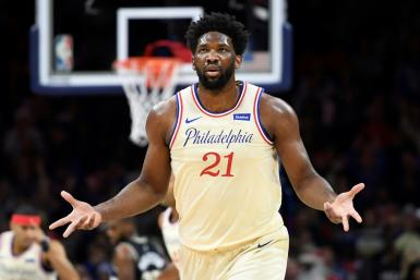Philadelphia's Joel Embiid reacts after scoring in the 76ers' 121-109 NBA victory over the Milwaukee Bucks