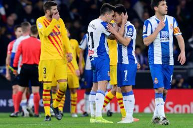 Wu Lei (2R) left Barcelona ruing two lost points after his late leveller earned a draw for Espanyol
