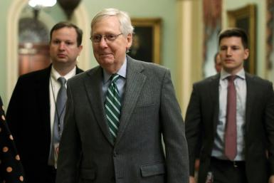 US Senate Majority Leader Mitch McConnell (R-KY) arrives at the US Capitol on January 16, 2020 as lawmakers prepare to tackle both the USMCA and impeachment