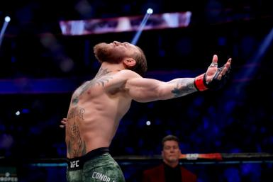 Ireland's Conor McGregor acknowledges the cheers of the crowd before his TKO victory over Donald Cerrone in their UFC246 welterweight bout in Las Vegas
