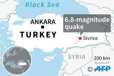 Map locating the earthquake that hit eastern Turkey