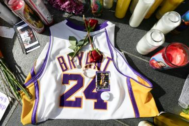 A Kobe Bryant jersey at a makeshift memorial