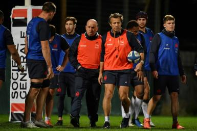 France coach Fabien Galthie (C) finds himself in charge of a youthful and talented side after succeeding Jacques Brunel and a tough opener at home to England