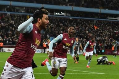 Going to Wembley: Trezeguet (left) celebrates the goal that sent Aston Villa into the League Cup final