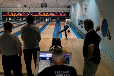 People play during bowling league games at Sheffield Lanes in Aliquippa, Pennsylvania