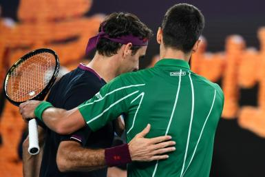 Roger Federer (L) lost to Novak Djokovic in the Australian Open semi-finals