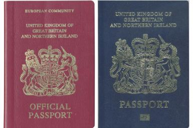 Britain will return to a blue and gold passport design after the country leaves the European Union