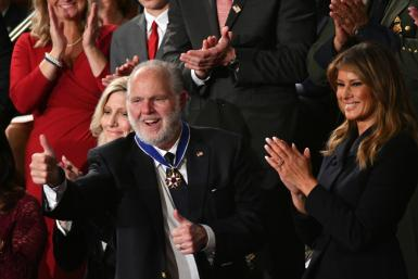 Conservative talk show host Rush Limbaugh, after being awarded the Medal of Freedom by Melania Trump during President Donald Trump's State of the Union address