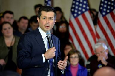 Democratic presidential candidate Pete Buttigieg holds a campaign event in Merrimack, New Hampshire