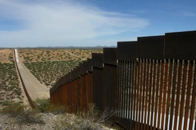 A portion of the wall on the US-Mexico border, seen from Chihuahua State in Mexico