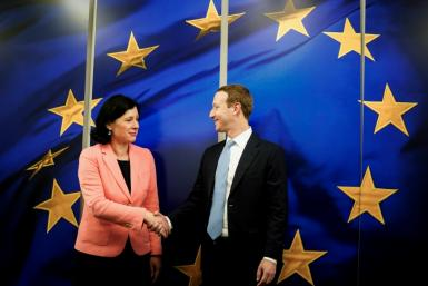 European Commission vice-president in charge for Values and Transparency Vera Jourova (L) has been an outspoken critics of tech founder Mark Zuckerberg's Facebook