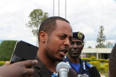 Rwandan musician Kizito Mihigo, pictured speaking to the media after being arrested in April 2014 on charges of threatening state security
