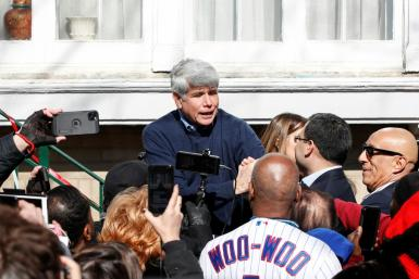 Former Illinois governor Rod Blagojevich greets supporters outside his house in Chicago on February 19 after his sentence was commuted by President Donald Trump