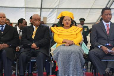 Prime Minister Thomas Thabane and Maesaiah Thabane, pictured alongside Zambian President Edgar Lungu, right, at Thabane's inauguration, two days after the murder of the premier's estranged wife