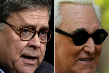 US Attorney General Bill Barr (L) is under fire for intervening in the criminal prosecution of Roger Stone, a close friend and political ally of President Donald Trump