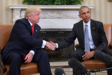 US President Donald Trump (left) has cast his economic record, fueled by tax cuts and deregulation, as far surpassing that of former president Barack Obama (right)