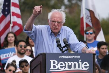 Presidential hopeful Senator Bernie Sanders speaks at a rally in Santa Ana, California on February 21, 2020