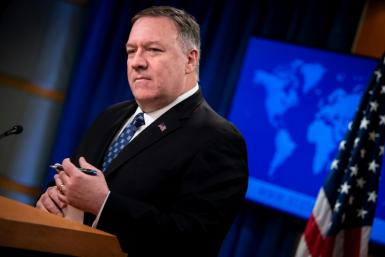 US Secretary of State Mike Pompeo briefs journalists in Washington on February 25, 2020