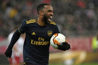 Alexandre Lacazette scored the only goal in the first leg in Greece