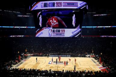 (FILES) In this file photo taken on February 17, 2020 a general view before the 69th NBA All-Star Game at the United Center on February 16, 2020 in Chicago, Illinois. The NBA has suspended play indefinitely after a Utah Jazz player preliminarily tested po