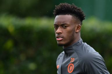 Callum Hudson-Odoi attends a Chelsea training session