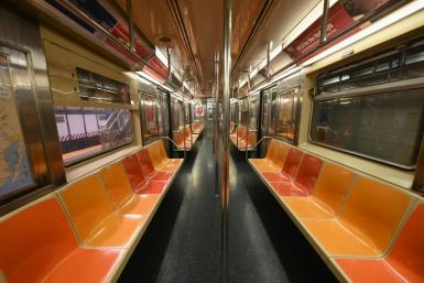 An empty New York Subway car is seen on March 23, 2020 in New York City