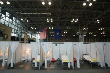 A temporary hospital is set up at Manhattan's Javits Center, as medical facilities in New York struggle to handle the influx of coronavirus patients