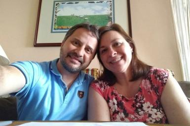 Laura Gabaroni Huergo with her husband Juan Huergo, quarantined in their cabin after they were transferred from the Zaandam cruise ship to the Rotterdam off Panama on March 29, 2020