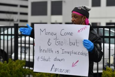 An estimated 50-60 Amazon workers walked out of a New York warehouse to demand that the facility be shut down and cleaned after one staffer tested positive for the coronavirus