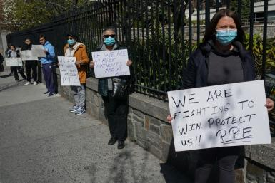 Montefiore Medical Center nurses call for N95 masks and other 'critical' PPE to handle the coronavirus (COVID-19) on April 1, 2020, in New York