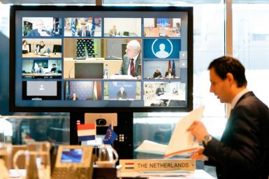EU finance ministers hold a video conference -- they have struggle to reach consensus over an economic coronavirus response