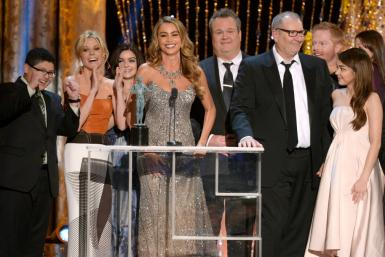 "The cast of ABC's ""Modern Family"" is seen at the Screen Actors Guild Awards in 2014"