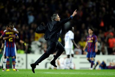 Jose Mourinho celebrated on the pitch at the Cam Nou after Inter Milan eliminated Barcelona in the 2010 Champions League semi-final