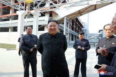 North Korean leader Kim Jong Un visits a fertilizer factory in a KCNA picture released on May 2, 2020 which appeared to confirm he was still alive, despite weeks of speculation