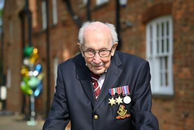 Besides his new knighthood, WWII veteran Captain Tom Moore also holds world records for raising money in a charity walk and as the oldest person to have a No. 1 in the UK singles charts