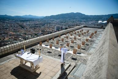 Chairs were set up to help keep social distancing in Notre Dame de la Garde Basilica's terrace in Marseille southern France