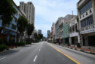 Empty streets in Singapore as people stay at home to curb the spread of the coronavirus