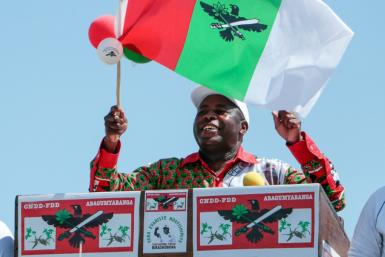 Front runner: Evariste Ndayishimiye of the ruling CNDD-FDD, pictured at the party's final campaign rally on May 16