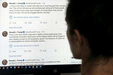 "Twitter targeted two tweets the president posted on Tuesday in which he contended without evidence that mail-in voting would lead to fraud and a ""Rigged Election"""