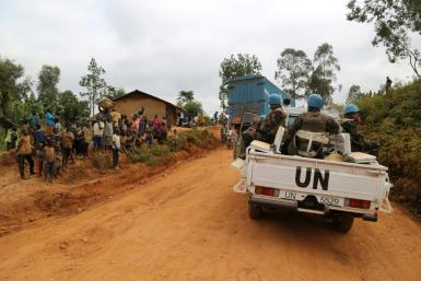 In a photograph taken in March, the UN mission in DRC patrols in Ituri province in eastern DR Congo