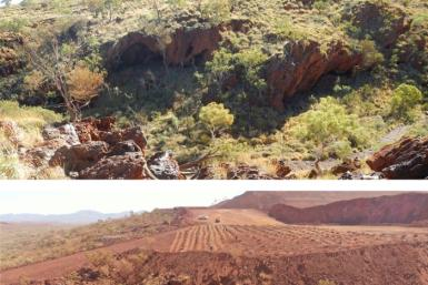 Photos by the PKKP Aboriginal Corporation shows Juukan Gorge in Western Australia taken on June 2, 2013 (top) and May 15, 2020