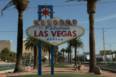 "The ""Welcome to Las Vegas"" sign is seen on a quiet Las Vegas Strip amid the novel coronavirus pandemic on May 8, 2020 in Las Vegas, Nevada."