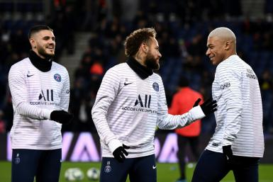 Paris Saint-Germain stars Mauro Icardi, Neymar and Kylian Mbappe. PSG were crowned Ligue 1 champions in late April after the season was ended early