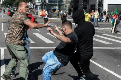 Street fights broke out between supporters and opponents of Brazilian President Jair Bolsonaro in Sao Paulo