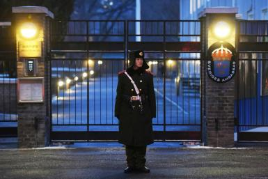 A paramilitary police officer stands guard outside the Swedish embassy in Beijing in 2019